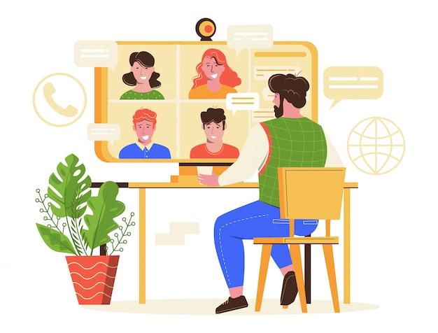 Online vergadering vectorillustratie. Premium Vector
