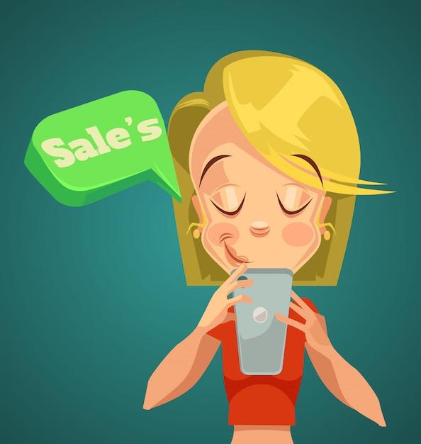 Online verkoop. vrouw die in telefoon kijkt. nacht online verkoop. online telefoonkortingen. Premium Vector