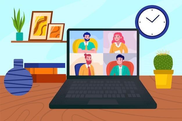Online videoconferentie op laptop scherm, zakelijke communicatie door internet oproep illustratie. teammensen en webgroep technologie op computerbijeenkomst. virtuele kantoorchat. Premium Vector
