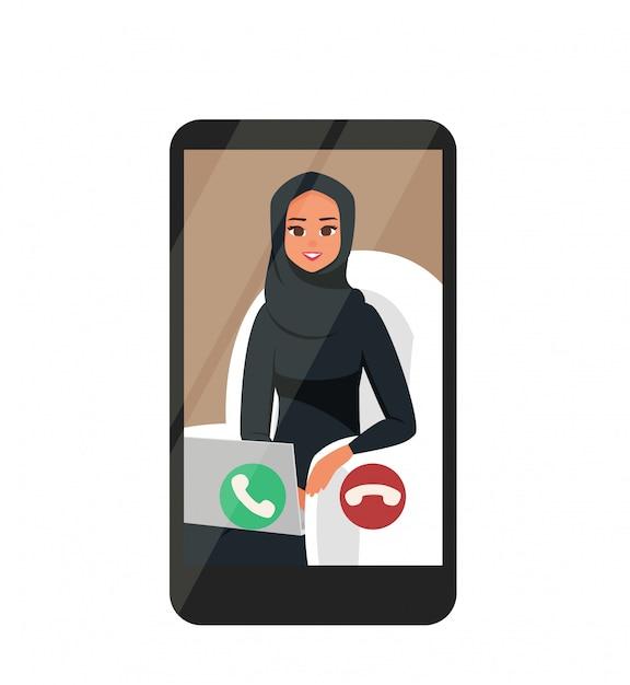 Online videoconferenties met happy arabische zakenvrouw Premium Vector