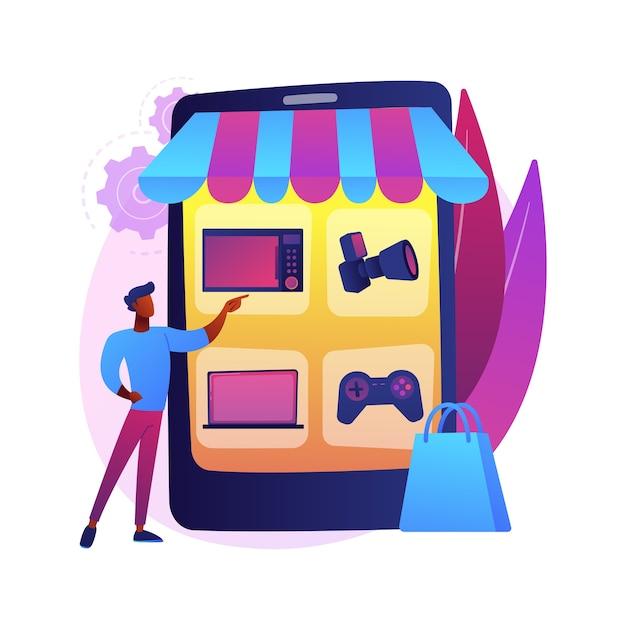 Online vlooienmarkt abstracte concept illustratie. online vintage marktplaats, digitale vlooienveiling, gebruikt goed e-commerceplatform, tweedehandshandel, antiek internetwinkel. Gratis Vector