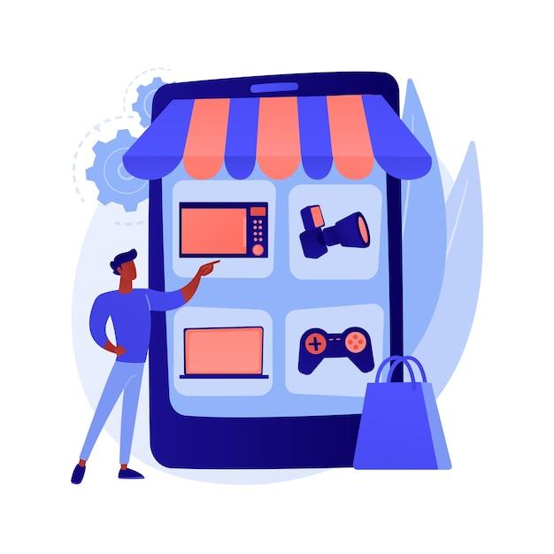 Online vlooienmarkt abstracte concept illustratie Gratis Vector