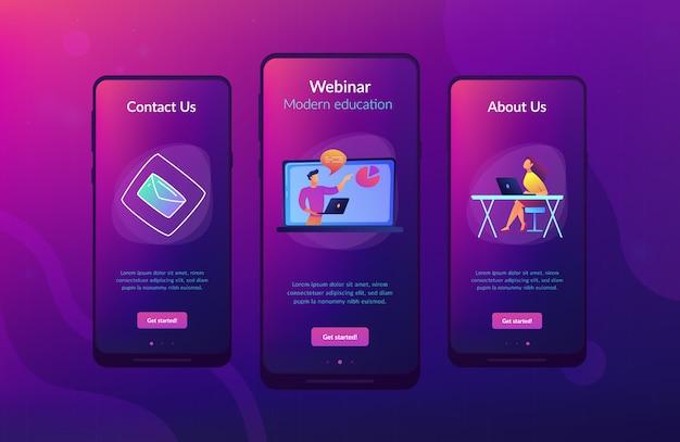 Online webinar app-interfacemalplaatje. Premium Vector