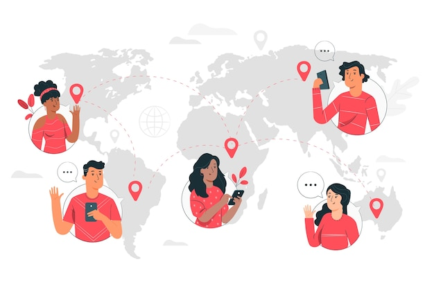 Online wereld concept illustratie Gratis Vector