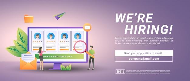 Online werving. ondernemers openen werving van werknemers. zoek en kies ervaren kandidaten. Premium Vector