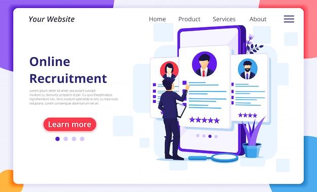 Online werving, zakenman kiezen van de beste kandidaat voor een nieuwe medewerker, human resource and hiring concept. Premium Vector