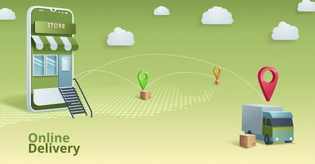 Online winkel. digitale marketing, winkel, e-commerce shopping concept. Premium Vector