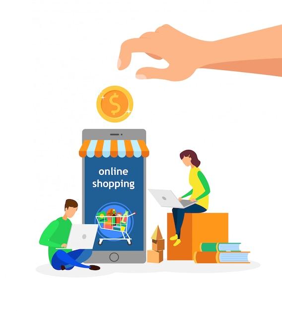 Online winkel klanten platte vectorillustratie Premium Vector