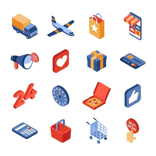Online winkel levering isometrische icon set Premium Vector
