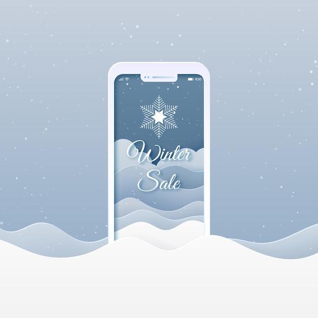Online winkel met mobiele applicatie. winter verkoop, prettige kerstdagen en gelukkig nieuwjaar banner achtergrond. Premium Vector