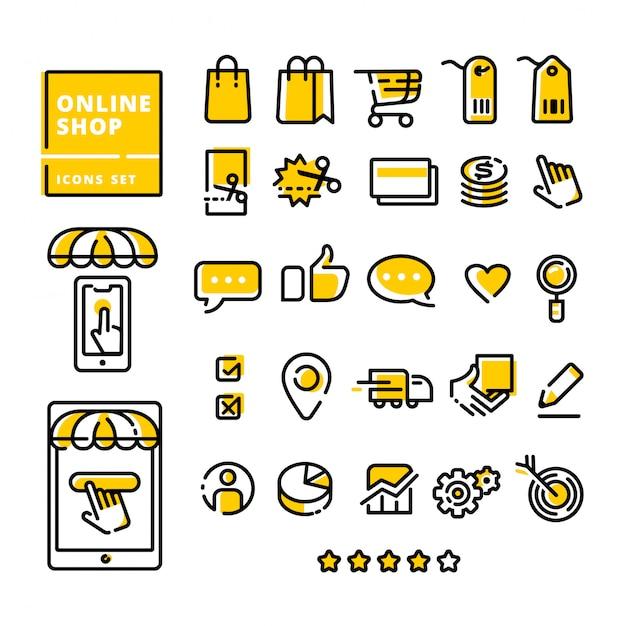Online winkel pictogrammen instellen moderne platte lijn Premium Vector