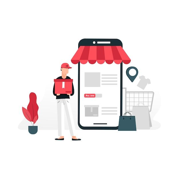 Online winkel plat concept Premium Vector