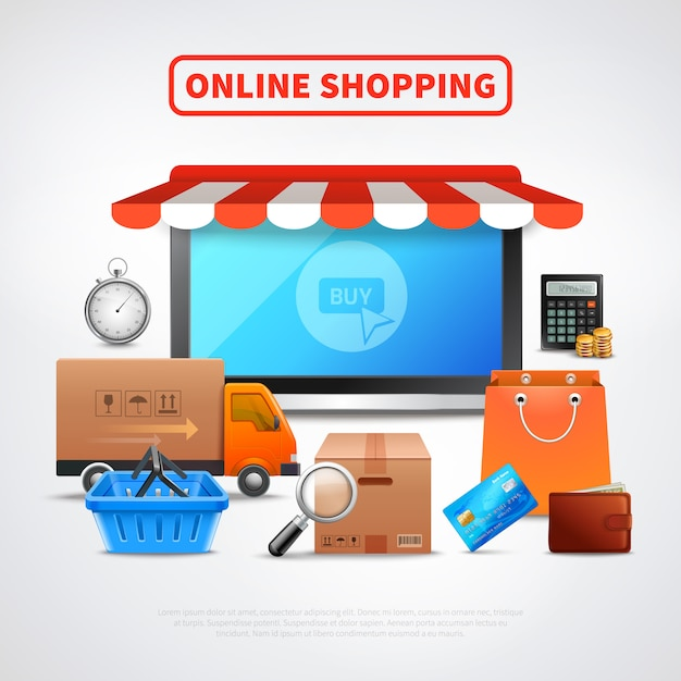 Online winkel platte samenstelling Gratis Vector