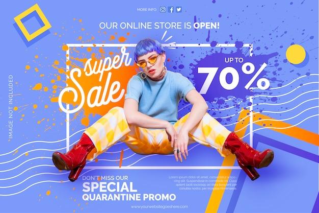 Online winkel quarantaine promo-sjabloon voor spandoek Gratis Vector