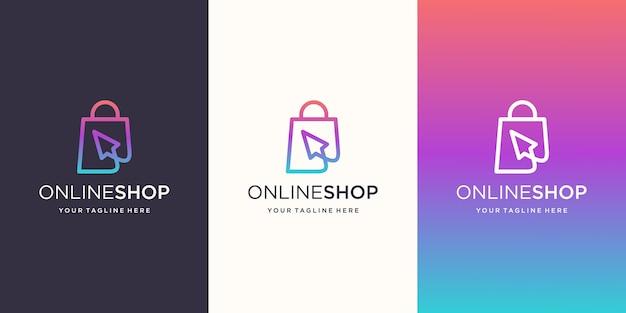 Online winkel, tas gecombineerd met cursor logo ontwerpen sjabloon Premium Vector
