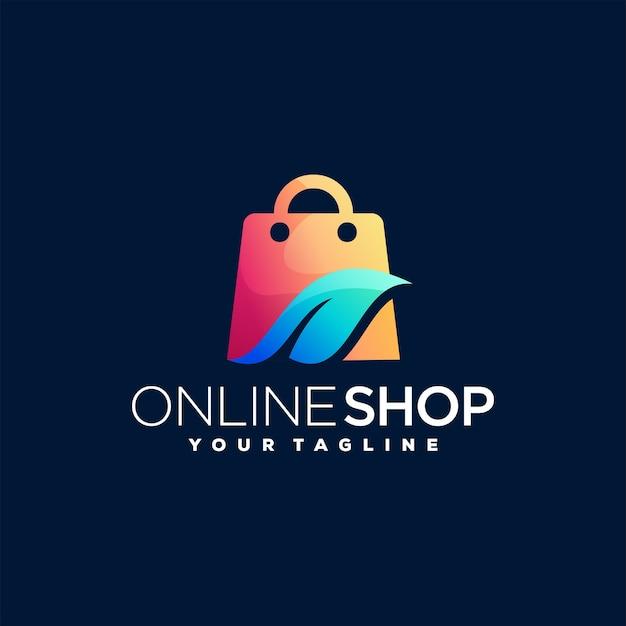 Online winkel verloop logo-ontwerp Premium Vector