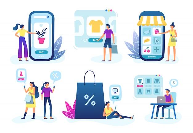 Online winkel. webwinkelbedrijf, klantenserviceservice en kopen en verkopen via internet Premium Vector