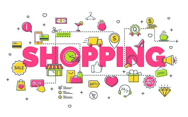 Online winkelconcept met moderne dunne lijnpictogrammen. creatief ideeconcept Premium Vector