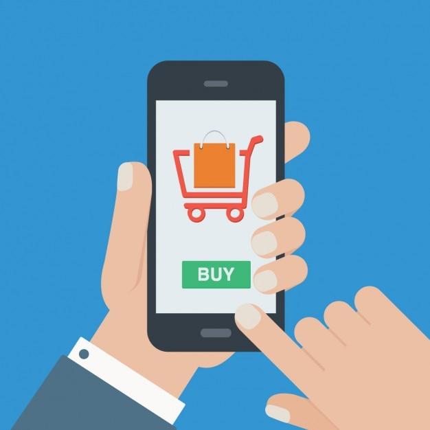 Online winkelen achtergrond Gratis Vector