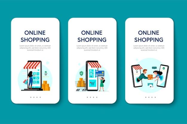 Online winkelen banner, sjablonen voor mobiele apps, platte conceptontwerp Gratis Vector