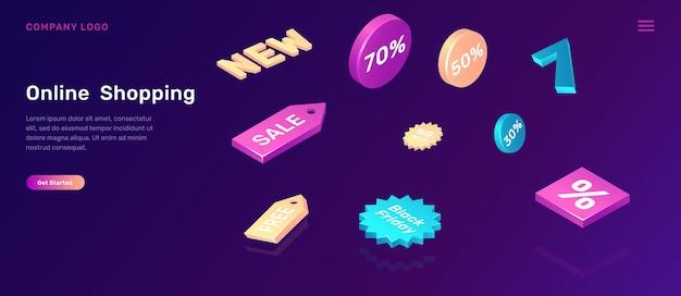 Online winkelen bestemmingspagina met verkooppictogrammen Gratis Vector