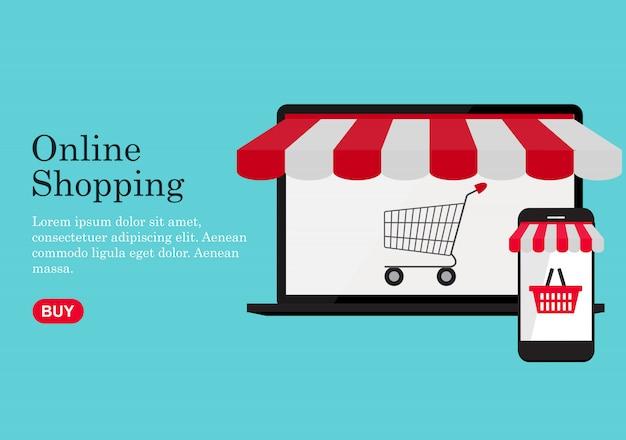Online winkelen concept achtergrond. illustratie Premium Vector