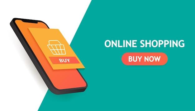 Online winkelen concept banner Premium Vector
