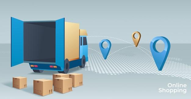 Online winkelen concept illustratie. webwinkel. internetwinkel. e-commerce en internetbankieren. Premium Vector