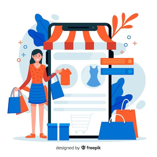 Online winkelen concept voor bestemmingspagina Gratis Vector