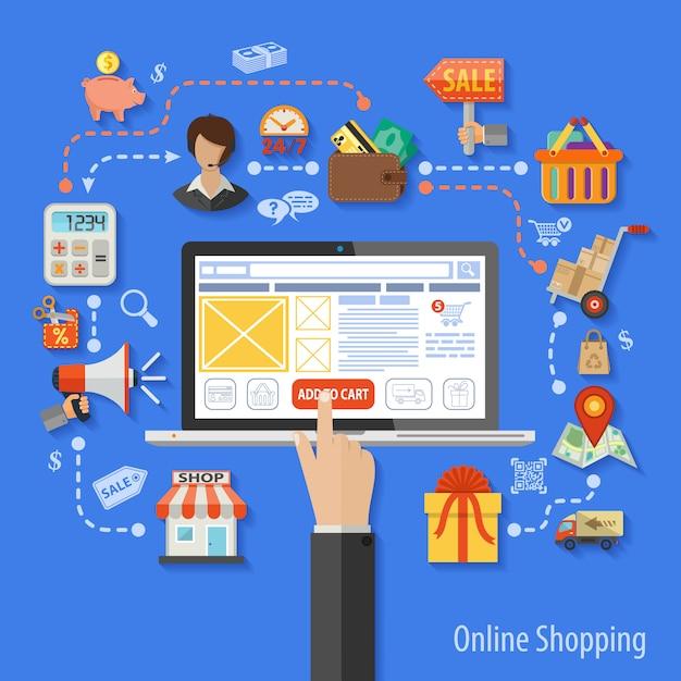 Online winkelen concept Premium Vector