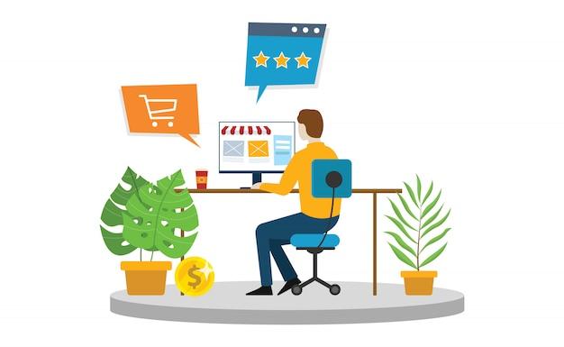 Online winkelen e-commerce man winkel Premium Vector