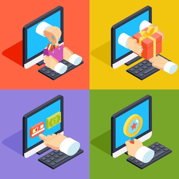 Online winkelen en e-commerce concept isometrische 3d vlakke stijl. webbetaling, kopen en winkelen, marketing van commercietechnologie, Gratis Vector