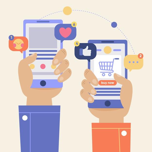 Online winkelen en sociale media concept Gratis Vector