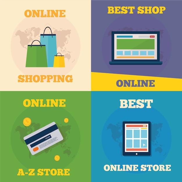 Online winkelen flat concept design Premium Vector
