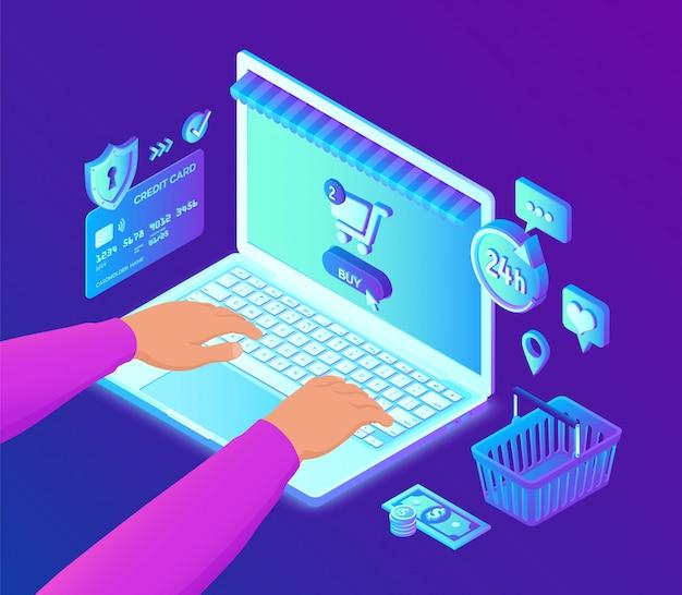 Online winkelen. handen op het toetsenbord van de laptop. 3d isometrische bankkaart, geld en boodschappentas. Premium Vector