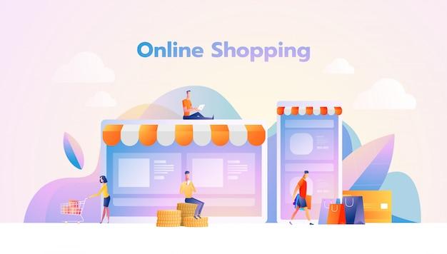 Online winkelen illustratie flat mensen tekens met boodschappentassen Premium Vector