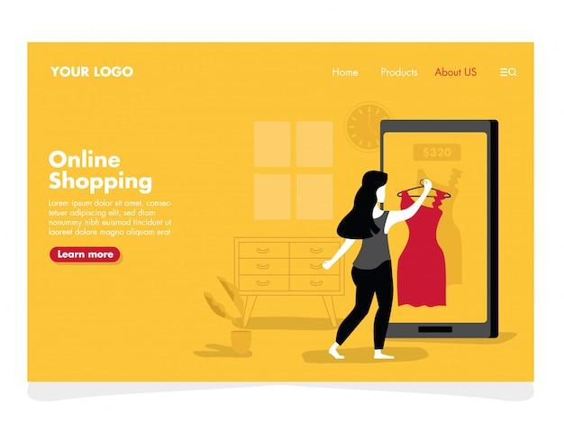 Online winkelen illustratie voor landingspagina Premium Vector