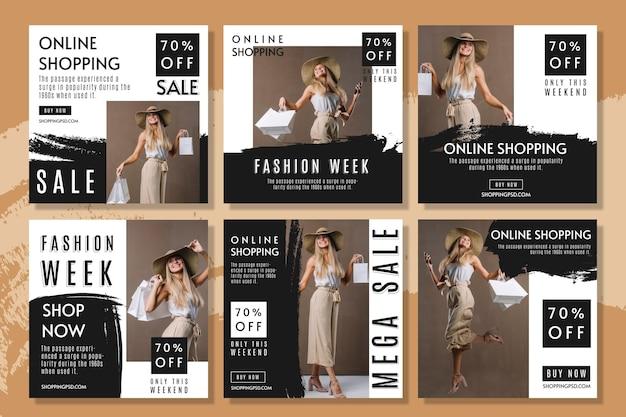 Online winkelen instagram posts-collectie Premium Vector