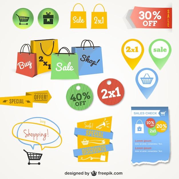 Online winkelen interface afbeeldingen Gratis Vector