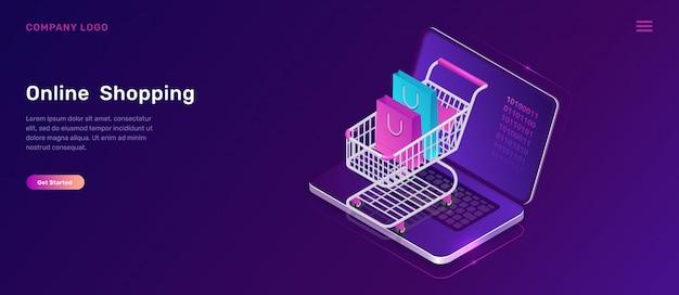 Online winkelen isometrisch concept, winkelwagen Gratis Vector