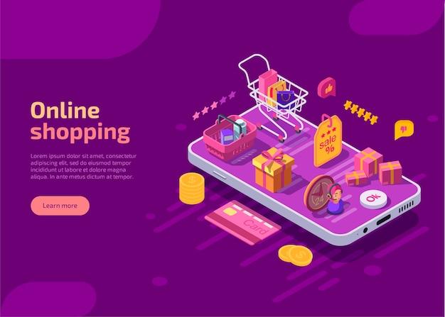 Online winkelen isometrische bestemmingspagina-sjabloon, webbanner op paarse achtergrond. Gratis Vector