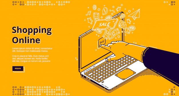 Online winkelen isometrische bestemmingspagina, webbanner Gratis Vector