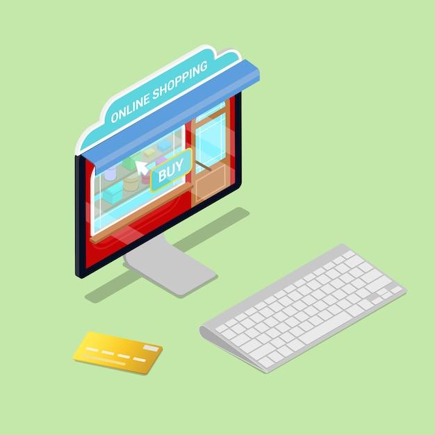 Online winkelen. isometrische computer. elektronische handel. Premium Vector