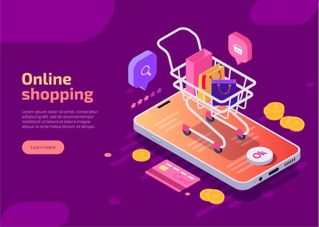 Online winkelen, isometrische concept illustratie. Gratis Vector