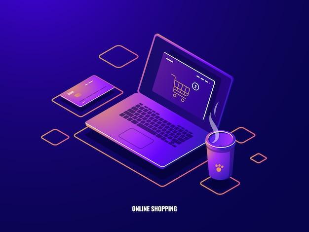 Online winkelen isometrische pictogram internet aankoop, laptop met winkelmandje op scherm, online betaling Gratis Vector