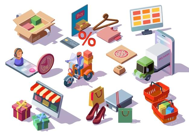 Online winkelen isometrische pictogrammen instellen met digitale apparaten en kleding e-commerce slaat bestellingen, dozen, tassen met aankopen op. Gratis Vector