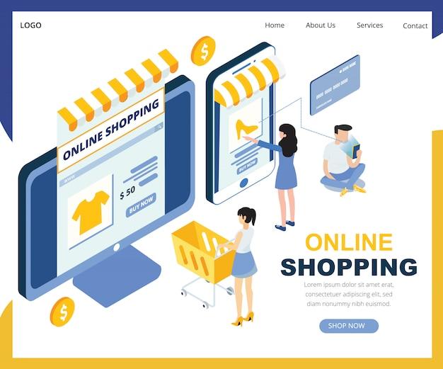 Online winkelen isometrische vectorillustratie Premium Vector
