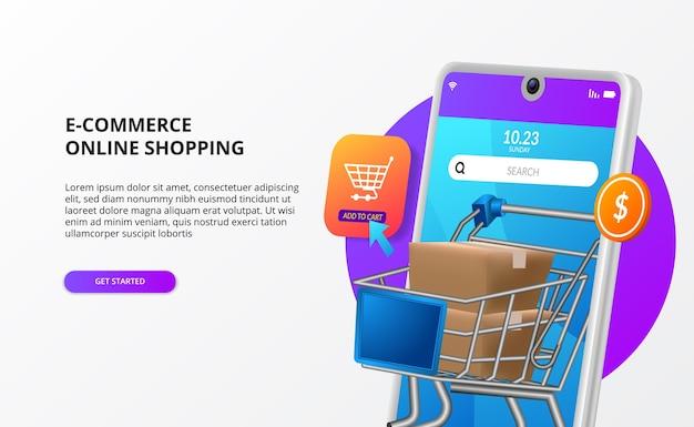 Online winkelen kopen op mobiele e-commerce bestemmingspagina concept digitale marketing promotie 3d telefoon illustratie met pakket trolley kar Premium Vector