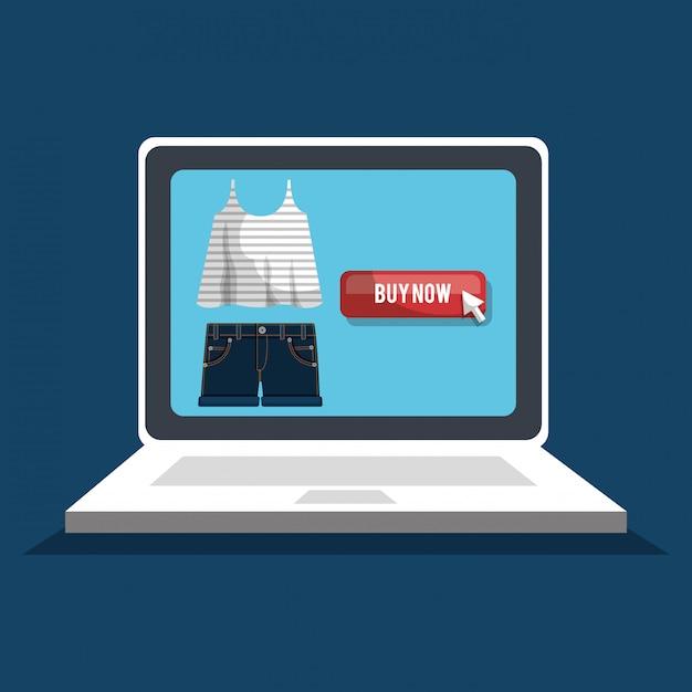 Online winkelen met laptop computer banner Gratis Vector