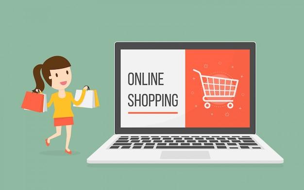 Online winkelen met vrouwelijk karakter Gratis Vector